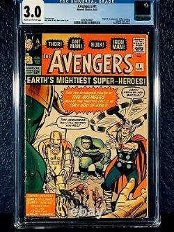 First Appearance THE AVENGERS 1st Series 1963 CGC 3.0 Lee Kirby SILVER-AGE Key 1