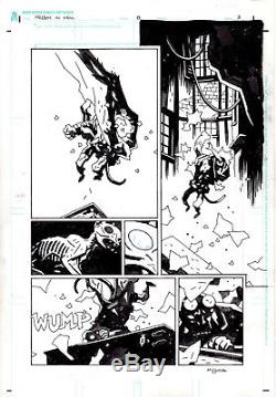 Hellboy in Hell#8 page 03 Mike Mignola signed Action page