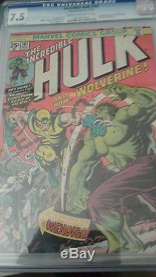 Hulk #181 CGC 7.5 1974 1st FULL Wolverine! X-Men! Bronze Age Grail! RARE Wendigo