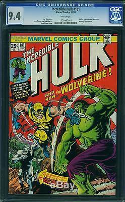 Hulk #181 CGC 9.4 1974 1st Wolverine! WHITE pages! X-Men! D12 121 1 cm