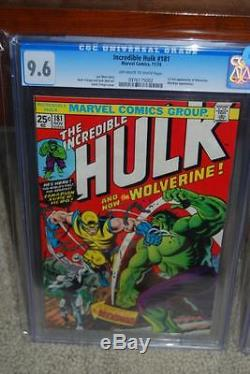 Hulk #181 CGC 9.6 Marvel 1974 1st Wolverine! Owithwhite pages! Deep red! C9 972 cm