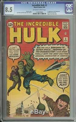 INCREDIBLE HULK #3 CGC 8.5 OWithWH PAGES