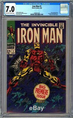 INVINCIBLE IRON MAN #1 CGC 7.0 OWithWP FN/VF ORIGIN RETOLD 1968