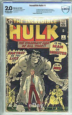Incredible Hulk #1 CBCS 2.0 Unrestored Very Nice 1st Appearance of the Hulk 1962