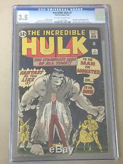 Incredible Hulk #1 CGC 3.5 Origin and 1st Appearance of the Incredible Hulk