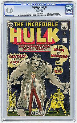 Incredible Hulk #1 CGC 4.0 OW MEGA KEY 1st app & Origin Kirby Lee Marvel Silver