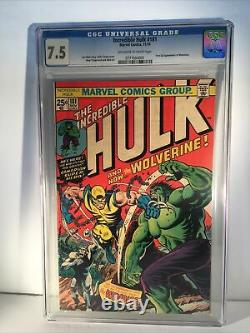 Incredible Hulk #181 CGC 7.5 OWTW Pages 1st Full Wolverine Herb Trimpe Len Wein