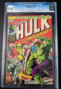 Incredible Hulk 181 CGC 9.0 Nov 1974 Bronze Age Key Grail Comic 1st WOLVERINE