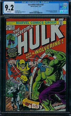 Incredible Hulk 181 CGC 9.2 1st Wolverine White Pages