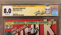 Incredible Hulk #181 Cgc 8.0 Ss Off-white Pages 1st Wolverine Signed Stan Lee