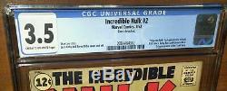 Incredible Hulk #2 CGC 3.5 Marvel 1962 1st Green Hulk! Key Book! L1 202 cm clean