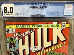 Incredible hulk 181 Cgc 8.0 OwithW Pages First Appear Wolverine (1974) Mvs Yes
