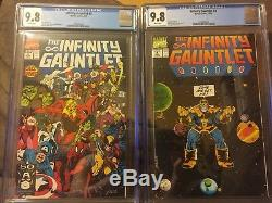 Infinity Gauntlet Full Set 9.8 Cgc! Thanos Quest & Infinity War 15 Book -cgc Lot