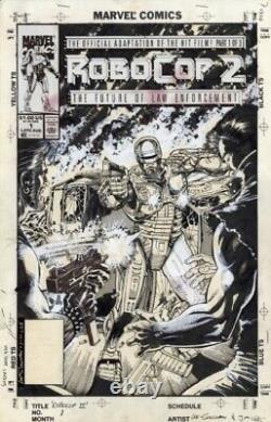 Jim Lee & Lee Sullivan Robocop 2 #1 Cover Original Comic Book Art 1990