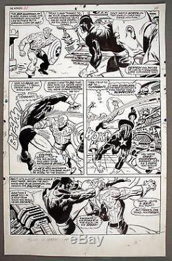 John Buscema Avengers#44 Captain America VS Red Guardian Twice Up Action Page