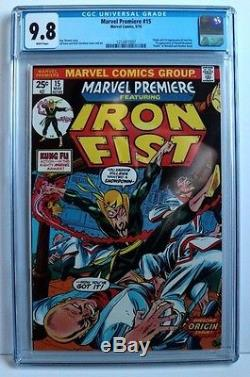 MARVEL PREMIERE #15, CGC 9.8 WHITE PAGES! 1st APPEARANCE of IRON FIST