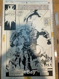 Mike Mignola X-force original comic book art splash page with color guide