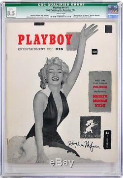 Playboy #1 December 1953 CGC 8.5 Signed by Hugh Hefner JSA LOA