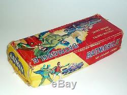 RARE 1960's BATMOBILE ASC JAPAN BATMAN TIN TOY WITH RED BAT HUBS + ORIGINAL BOX