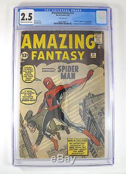 Rare 1962 Amazing Fantasy #15 Marvel Spider-Man Comic Stan Lee CGC Graded 2.5