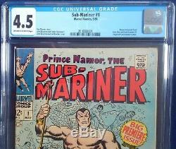SUB-MARINER #1 CGC 4.5 Origin Prince Namor The Sub-Mariner Origin retold 5/1968