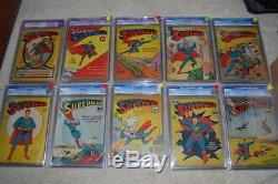 Superman #1 2 3 4 5 6 7 8 9 10 SET! CGC 5.5 (R) 1939 #1-10 SET! Cm