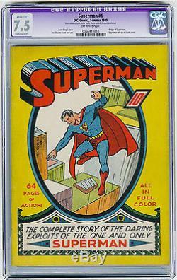 Superman #1 CGC 7.5 MEGA KEY Iconic Cover Origin Shuster Siegel DC Golden Age