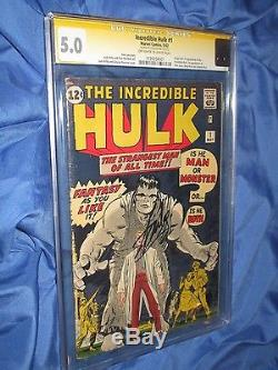 THE INCREDIBLE HULK #1 CGC 5.0 SS Signed/Autograph by Stan Lee Origin/Avengers