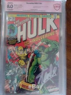 The Incredible Hulk # 181 8.0 Graded 1st print 1st Wolverine SIgned by Stan Lee