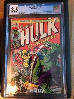 The Incredible Hulk #181 CGC 3.5 OFF WHITE TO WHITE PAGES! FIRST WOLVERINE