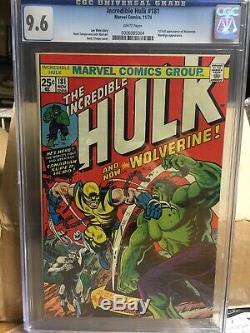 The Incredible Hulk #181 CGC 9.6. Hulk, Wolverine, - Rare White Pages