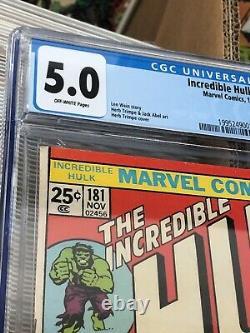 The Incredible Hulk #181 Marvel Comic Book, CGC Graded 5.0 Key, 1st Wolverine