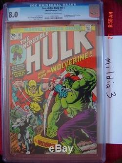 The Incredible Hulk #181 (Nov 1974) CGC 8.0 OWithW PAGES 1st FULL app WOLVERINE