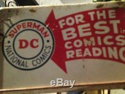 VINTAGE 1950s-1960s DC SUPERMAN COMIC BOOK SPINNER RACK TOP SIGN -RARE