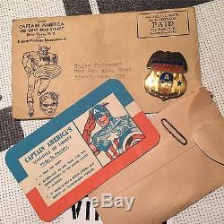 Vintage 1941 Timely Comics CAPTAIN AMERICA Fan Club Kit Badge Button COMPLETE