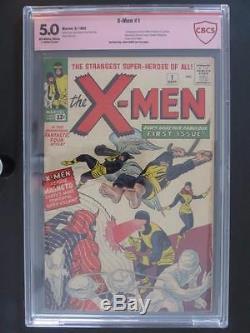 X-Men #1 CBCS 5.0 -Marvel 1963- 1st App/ORIGIN of XMen Signed by Jack Kirby