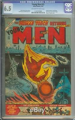 YOUNG MEN #25 CGC 6.5 OWithWH PAGES